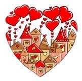 Casas do amor no fundo branco Imagens de Stock Royalty Free