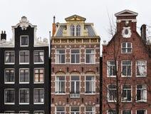 Casas do canal de Amsterdão Fotografia de Stock