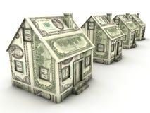 Casas do dólar em uma fileira ilustração royalty free