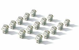 Casas do dinheiro do dólar nas fileiras Fotografia de Stock Royalty Free