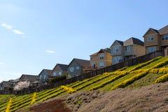 Casas do montanhês com a plataforma da opinião do quintal Foto de Stock