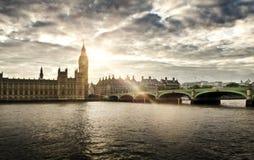 Casas do parlamento e de Ben grande, Londres Fotos de Stock Royalty Free