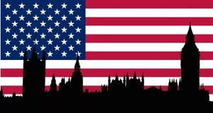 Casas do parlamento sobre a bandeira dos EUA Fotografia de Stock Royalty Free