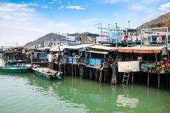 Casas do pernas de pau da aldeia piscatória da TAI O em Hong Kong Imagem de Stock