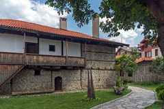 Casas do século XIX autênticas na cidade de Bansko, região de Blagoevgrad, Bulgária Imagens de Stock Royalty Free