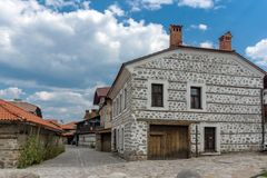 Casas do século XIX autênticas na cidade de Bansko, região de Blagoevgrad, Bulgária Fotografia de Stock