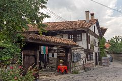 Casas do século XIX autênticas na cidade de Bansko, região de Blagoevgrad, Bulgária Fotos de Stock Royalty Free