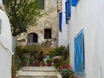 casas do typicall em uma vila pequena em greece imagens de stock royalty free