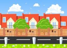 Casas do vetor em seguido ao lado da estrada ilustração do vetor