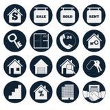 Casas dos bens imobiliários?, planos para a venda ou para o aluguel Ajuste ícones do vetor Imagem de Stock