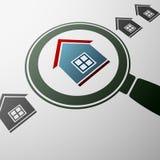 Casas dos bens imobiliários?, planos para a venda ou para o aluguel Ilustração conservada em estoque Fotos de Stock