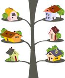 Casas dos desenhos animados dentro   Fotos de Stock