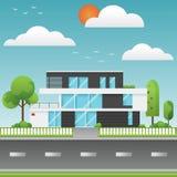 Casas e ambiente modernos com árvore e ao longo das estradas, M Imagem de Stock Royalty Free