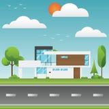 Casas e ambiente modernos com árvore e ao longo das estradas, M Fotografia de Stock
