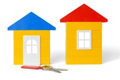 Casas e chaves imagem de stock royalty free
