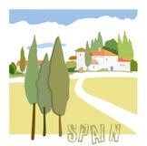 Casas e ciprestes espanhóis rústicos da imagem do vetor fotografia de stock