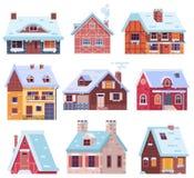 Casas e casas de campo do inverno ajustadas ilustração do vetor