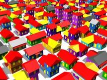 Casas e edifícios do estabelecimento fotografia de stock royalty free
