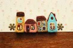 Casas e flocos de neve pequenos Imagem de Stock Royalty Free