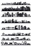 Casas e iconos de la ciudad stock de ilustración