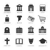 Casas e iconos municipales Muestras del gobierno de la ciudad ilustración del vector
