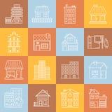 Casas e iconset mínimo do vetor do lineart das construções na textura quadriculado multicolorido Foto de Stock Royalty Free
