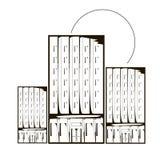 Casas e sol monocromáticos dos arranha-céus do esboço Imagens de Stock