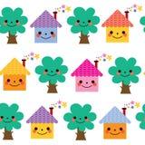 Casas e teste padrão das crianças das árvores Imagens de Stock Royalty Free