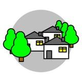 Casas, ejemplo del vector del icono de los árboles Imagen de archivo libre de regalías