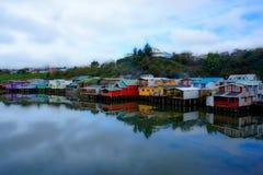 Casas em Castro em Chiloe Fotografia de Stock Royalty Free