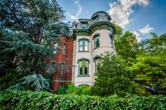 Casas em Logan Circle, em Washington, C.C. fotografia de stock royalty free