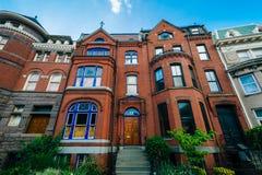 Casas em Logan Circle, em Washington, C.C. fotos de stock royalty free