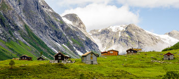 7 casas em mountans de Noruega Imagens de Stock