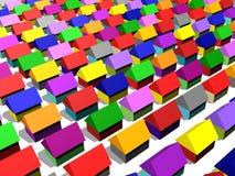 Casas em muitas cores imagem de stock