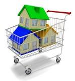 Casas en carro de la compra Imagen de archivo