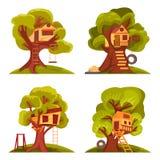 Casas en el árbol para los niños stock de ilustración