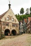 Casas en el bosque negro del schiltach, Alemania Imagen de archivo