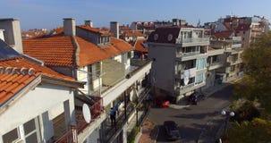 Casas en el bulevar de la playa en Pomorie, Bulgaria Fotos de archivo libres de regalías