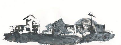 Casas en el modelo del extracto del horizonte, dibujando con el acrílico y la pluma stock de ilustración