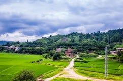 Casas en el pueblo cerca del campo del arroz Imágenes de archivo libres de regalías