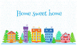 Casas en invierno stock de ilustración