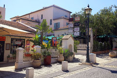 Casas en la calle principal en Zichron Yaakov, Israel Fotos de archivo libres de regalías