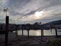 Casas en la costa en Vancouver foto de archivo