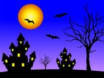 Casas en la noche stock de ilustración