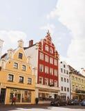 Casas en Landshut, ciudad bávara Fotos de archivo