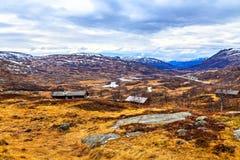Casas en medio de campos grandes con la hierba amarilla Fotos de archivo libres de regalías