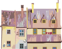 Casas en pasteles del color Imagen de archivo