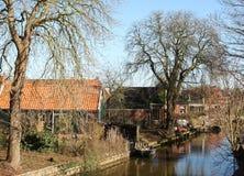 Casas en Winsum netherlands foto de archivo