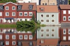 Casas escandinavas coloridas Fotos de Stock Royalty Free