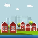 Casas escandinavas de madera rojas y blancas Tema del otoño Imagen de archivo